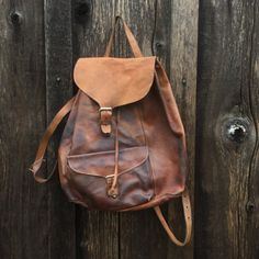70s Brown Leather Backpack Authentic by KodachromeVintage