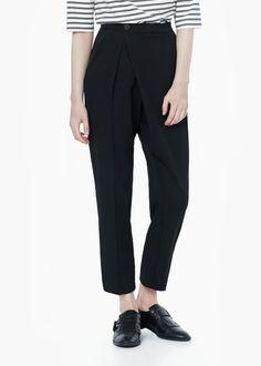 Pantalón baggy cruzado - Pantalones de Mujer | MANGO
