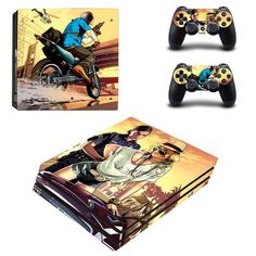 GTA V PlayStation 4 pro skin decal for console and controllers