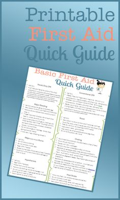 Printable First Aid Guide - Good to have on hand