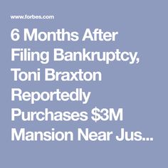 6 Months After Filing Bankruptcy Toni Braxton Reportedly Purchases 3M Mansion Near Justin Bieber And Kourtney Kardashian