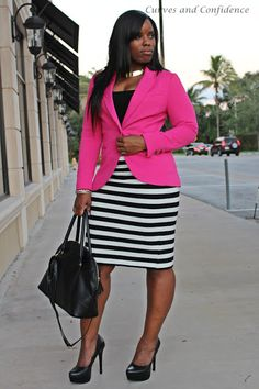 Desk to Dinner Outfit, featuring The Limited striped skirt