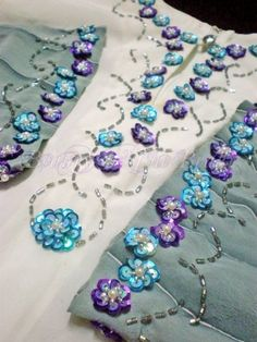 Pretty beaded & sequined flowers on a tunic Tambour Beading, Tambour Embroidery, Silk Ribbon Embroidery, Hand Embroidery Designs, Beaded Embroidery, Embroidery Stitches, Bordados Tambour, Crazy Patchwork, Floral Hoops