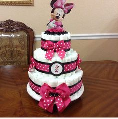Perfect Baby Girl Baby Shower Idea (Minnie Mouse) Diaper Cake