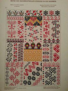 Stickerei aus Bukowina Cross Stitch Borders, Cross Stitch Alphabet, Cross Stitch Charts, Cross Stitch Patterns, Folk Embroidery, Embroidery Patterns, Knitting Charts, Knitting Patterns, Chart Design