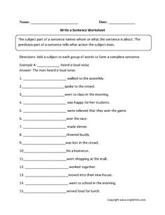Write a Sentence Worksheet