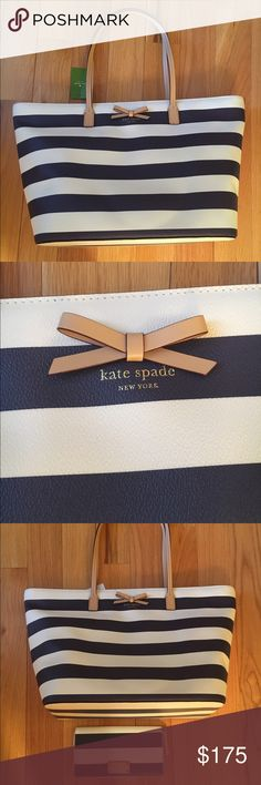 NEWKate Spade Margareta NEW KS Margareta. Beautiful tote in navy and white.  Top has zipper closure for convenience. Wallet is listed separately. no trade no PayPal no Holds kate spade Bags Totes