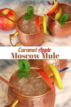 How to make a salted caramel apple Moscow Mule, a delicious and easy #Fall #cocktail drink recipe! You get the Autumn flavors of caramel and apple together in the perfect, refreshing #drink! #moscowmule #falldrinks #drinks