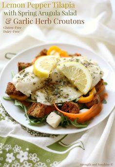 Pepper Tilapia + Spring Arugula Salad & Homemade Garlic Herb Croutons ...