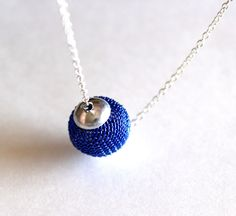 Metal mesh necklace bead in blue by Bunnys on Etsy, $16.00
