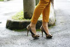 heels & mustard pants