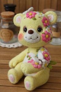 羊毛フェルト 花くま | Needle felted teddy bears