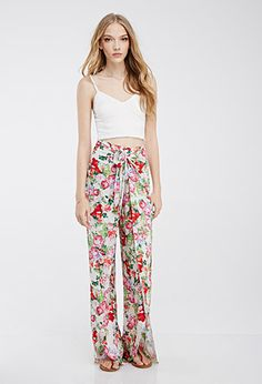 Floral Print Tulip Pants | Forever 21 - 2000054089  I LOVE THESE. I just ordered them so hopefully they will fit and look nice