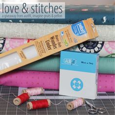 Aurifil, Pellon and imagine gnats want to give you the chance to win a wonderful Valentine's Day Love &Stitches Giveaway prize package filled with goodies galore !  This bundle includes an #Aurifil assorted 10 wooden spool Aurifloss collection that is perfect for all your embroidery, friendships bracelets, card making and so much more. A 10 pack bundle of Pellon products and Rachael from imagine gnats is including a 1/2 yard bundle of 5 Cotton+Steel fabrics!