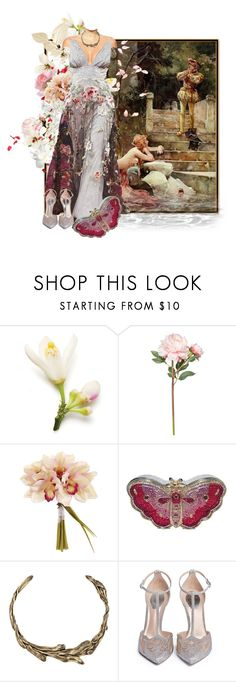 """""""The Secret Of A Water Nypmh"""" by the-house-of-kasin ❤ liked on Polyvore featuring Giorgio Armani, OKA, Judith Leiber, Rene, floral and gownsgalore"""