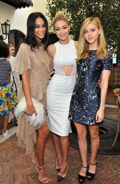 With Chanel Iman and Nicola Peltz at Lynn Hirschberg Celebrates W's It Girls event at A.O.C in Los Angeles. See all of Gigi Hadid's best looks.