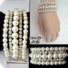 Couture pearl cuff bracelet  5 Strand  Cuff by QueenMeJewelryLLC