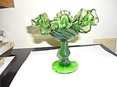Green Glass Candy Or Condiment Dish