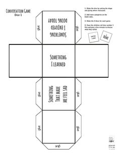 Make the dice by cutting the shape and gluing where instructed. 2 dices for each game. Have the children roll the emotion dice first and then the animal dice. Have them role play what they rolled. Meet an angry turtle or happy elephant. http://www.plantlovegrow.com/feelings--emotions.html