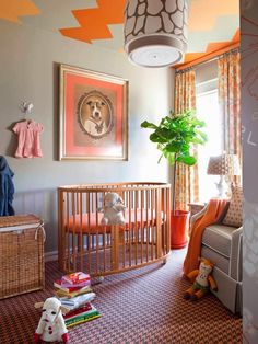 Warm and cozy nursery room design for the little one. Chic Nursery, Nursery Neutral, Nursery Room, Kids Bedroom, Nursery Decor, Nursery Ideas, Orange Nursery, Kids Rooms, Extra Bedroom