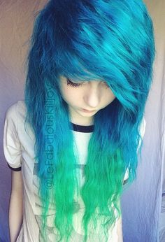Gonna make an Blue and Emerald Green ombre with my ends X3 can't sait