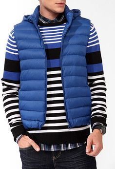 Hooded Puffer Vest Blue Large from Forever Shop more products from Forever 21 on Wanelo. 21men, Puffer Vest, High Collar, Hoods, Latest Trends, Personal Style, Winter Jackets, Stripes, Mens Fashion