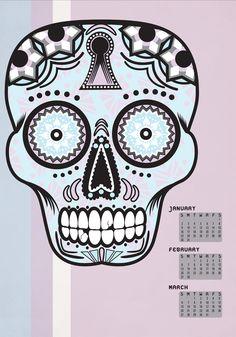 Winter 2011 Sugar Skull Calendar, Illustration    anchoreddesigns.com