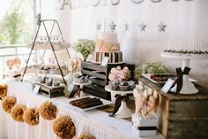Vintage Hot Air Balloon Themed Baby Shower styled by The TomKat Studio - Dessert Table