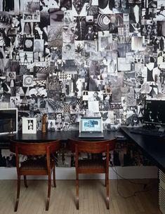 Mur de photo. Noir et blanc