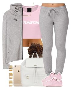 """Pinkie. "" by livelifefreelyy ❤ liked on Polyvore featuring DKNY, Forever 21, adidas, ZoÃ« Chicco, NIKE, ASOS, women's clothing, women's fashion, women and female"