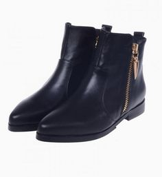 Flat Ankle #Boots With Side Zip. Choies #botas