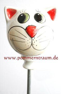 Gartenstecker Keramik Katzenkopf WEISS