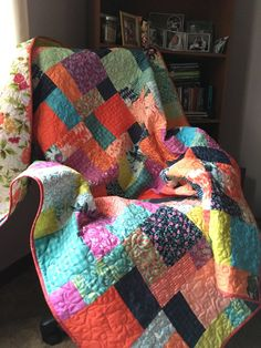 Bright floral and plaid patchwork lap quilt roses by Pamelaquilts
