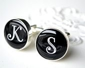 groom,groomsmen,winter wedding, 2012 wedding,black and white,cufflinks,gifts,wedding day,bride and groom,initials, monogram