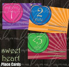 Place Cards Sweet Heart by OnlyOneMarkINC on Etsy, $10.00