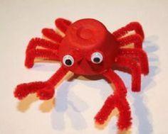 egg carton crab kids crafts - ocean kid craft - crafts for kids- kid crafts - acraftylife.com #preschool