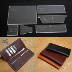 DIY Business Long Rectangle Wallet Template Acrylic Stencil Leather Craft for sale online Leather Diy Crafts, Leather Craft Tools, Leather Gifts, Leather Projects, Handmade Leather Wallet, Wood Projects, Diy Wallet, Long Wallet, Purse Wallet