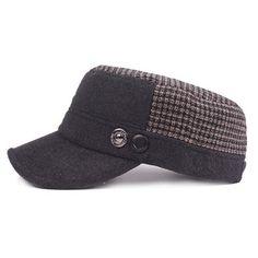 0bf73c08b3a Men Fur Keep Warm Flat Top Cap Classic Patchwork Adjustable Cap With  Earflaps Baseball Cap Бейсболка
