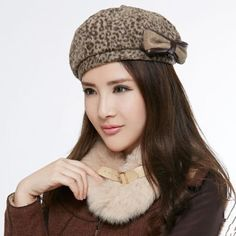 Leopard french beret hat for women winter wear with bow