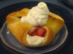 strawberries, crescent rolls, sugar and cream cheese
