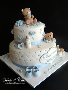 Cake for the Baptism of the Little Lorenzo Torta Baby Shower, Baby Shower Cake Pops, Baby Shower Cakes For Boys, Baby Boy Cakes, Baby Shower Balloons, Girl Cakes, Baby Boy Shower, Gateau Baby Shower Garcon, Decoration Buffet