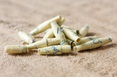 Vintage Handwritten Note Paper Beads Light Yellow by TheRehatchery
