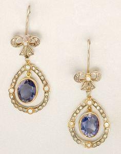 Vintage Iolite with Diamonds... Split Pearl Pendant Earrings.... (Estimated value: 700. - 900.)