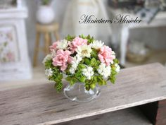 Miniature Dollhouse Asters And Pink Roses In The Glass Bowl by Minicler on Etsy https://www.etsy.com/listing/221373892/miniature-dollhouse-asters-and-pink
