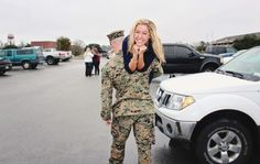 HOW CUTE! I wanna take a picture like this after seeing him for the first time from boot camp :)
