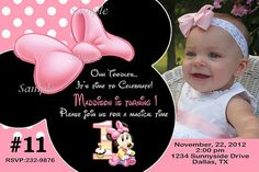 Baby Minnie Mouse Personalized photo invitation Printable | TreasuredInvitations - Digital Art on ArtFire