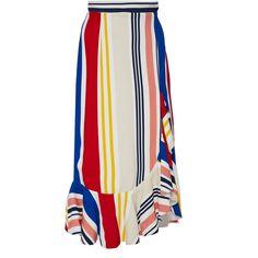 SemSem Giza Ruffle Skirt ($600) ❤ liked on Polyvore featuring skirts, multi, flounce skirt, slit skirt, frill skirt, flouncy skirt and frilly skirt
