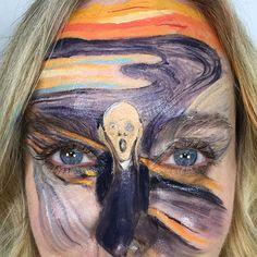 Munch, the scream makeup by lisa houghton - makeup artist Makeup Inspo, Makeup Art, Makeup Inspiration, Semarang, Maquillage Halloween, Halloween Face Makeup, Tattoo Girls, Girl Tattoos, Body Painting