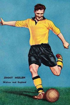 Jimmy Mullen of Wolves in Wolverhampton Wanderers Fc, Football Memorabilia, Football Art, Historical Images, Wolves, 1950s, England, Club, Logo