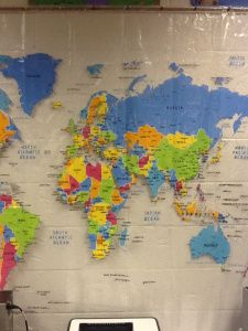 A shower curtain world map from Target! SO much potential!